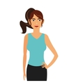 woman wearing sportswear and ponytail icon vector image
