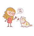 cartoon girl playing bow on rope with her cat vector image