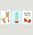 cute xmas cards posters letterings in cartoon vector image