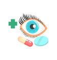 human eye and pills ophthalmology concept cartoon vector image