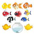 Set of colored tropical aquarium fish and bowl vector image