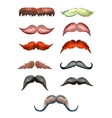 set of watercolor male mustache vector image