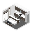 Studio apartment isometric icon set vector image