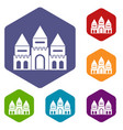 children house castle icons set vector image