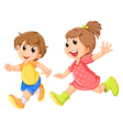 A small girl and a small boy playing vector image vector image