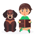 Brown dachshund with reading boy closeup on white vector image