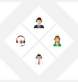 flat icon telemarketing set of help headphone vector image