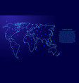 map of the world from the contours blue vector image
