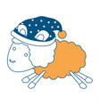 sheep animal with sleeping cap jumping color vector image