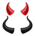 devils horns realistic red and black devil vector image