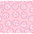 Seamless kawaii cartoon pattern with cute cupcakes vector image vector image