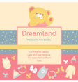 background with a label products for babies Advert vector image