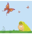 snail and butterflies vector image vector image