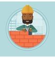 Bricklayer building brick wall vector image