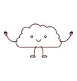 cloud kawaii caricature in brown color contour vector image