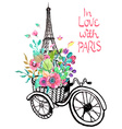 Eiffel tower with watercolor flowers vector image