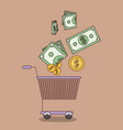 light brown color background with shopping cart vector image
