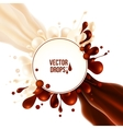 Milk and chocolate flows with round drops splash vector image