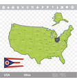 ohio flag and map vector image