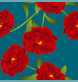 red peony flower on teal indigo background vector image