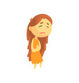 sick girl with long hair suffering from stomach vector image