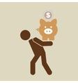 silhouette man financial crisis piggy coin vector image