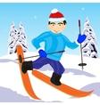 Skier in wood vector image