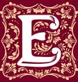 vintage letter E vector image