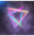 Neon Triangle Disco Poster Template 80s Background vector image