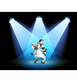 A stage with a dancing lemur vector image