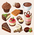 Set of chocolate sweets cakes and other food vector image