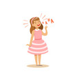 girl in a pink dress laughing out loud colorful vector image