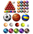 Different kind of balls of many sports vector image