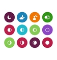 Moon phases circle icons on white background vector image
