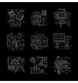 School life white line icons set vector image