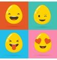 Set of Easter eggs emoticons emoji set vector image