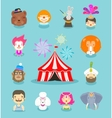 Circus icons set Collection of elements of clown vector image