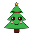 kawaii christmas tree cartoon happy vector image