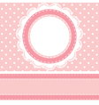 Polka dot background with lace napkin vector image