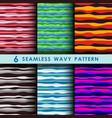 set of seamless wavy pattern vector image