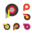 Letter P Or Wheel With Fire Logo Minimalism Art vector image vector image