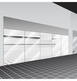 Shop with stand and shelves in the corridor vector image