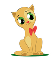 cute cartoon cat with bow vector image