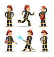 fireman cartoon character set firefighter vector image