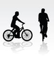 recreation on bike silhouette vector image