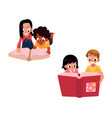 set of kids children reading thick book together vector image