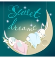 sleeping white bunny kids - card vector image