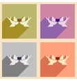 Set of flat web icons with long shadow birds heart vector image
