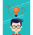 Man thinking making choise selecting what idea vector image