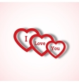 Red paper hearts Valentines day card on white vector image
